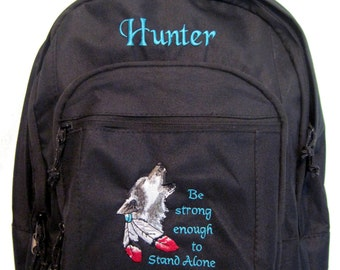 Free shipping - Personalized Wolf Backpack BookBag school tote monogrammed  - NEW - one day processing