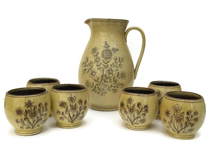Antique Pitcher Set. Hand Painted Flower Ceramic Wine Jug and Goblets. 19th Century Ceramic Pitcher and Tumblers.