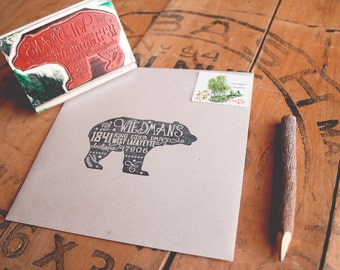 "Rustic Bear Return Address Stamp - Woodsy Stamp - County Wedding Return Address Rubber Stamp - Woodland Animal Stamp - 3"" x 2"""