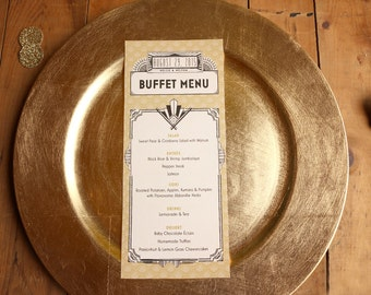 Great Gatsby Wedding Menus - Art Deco Vintage Wedding Menus - Black and Gold Menus - Nellie