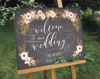 Rustic Chalkboard Wedding Welcome Sign Digital File - PDF - Instant Download - Sage