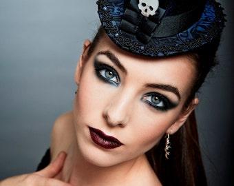 "Gothic Steampunk Top Hat ""Curiosité - Purple"" Purple Black Brocade Sterling Silver Skull Head"