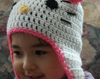 Handmade Crocheted Hello Kitty Hat (Pink)