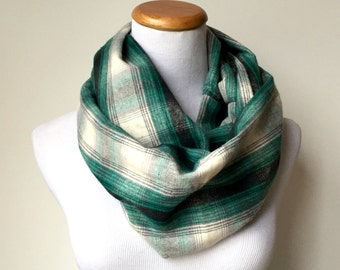 black, white, grey, and green/teal  flannel infinity scarf