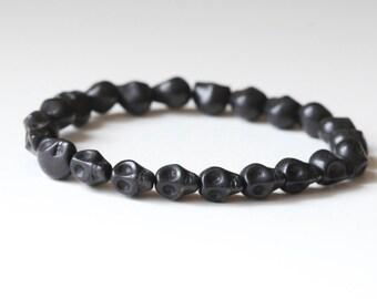 Mens SKULL Bracelet - Skull Bracelet - Mens Black Stone Skull Bracelet