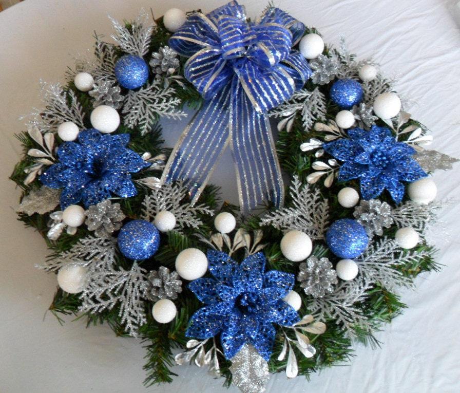 Blue Silver Christmas Wreath Blue Christmas Wreath Christmas