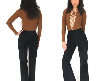Vintage 70s Black Suede High Waist Bell Bottoms Pants Jeans Flares Hippie