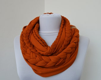 Light Brick Scarf Infinity Jersey Scarf Partially braided Circle Scarf Scarf Nekclace