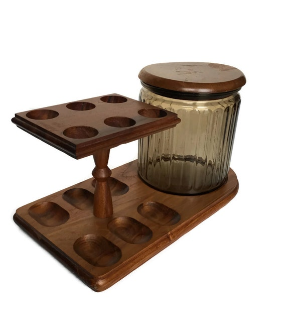 Vintage wood pipe holder glass humidor den game room decor tobacciana