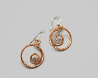 Spiral Copper Earrings with 3-D style for Women and Teens - Nickel Free Earwires