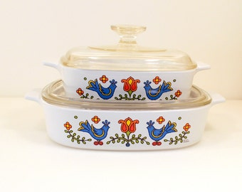 4 pc Corning Ware Casserole Set. Country Festival Corning Ware Corning Kitchenware Corning Cookware