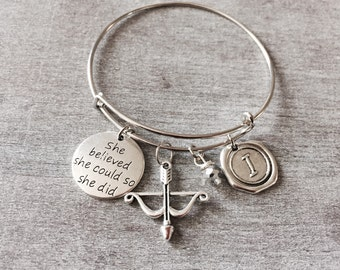 Archery Bracelet, Archery Charm, Bow and arrow, Crossbow, She Believed she could so she did, Silver Bracelet, Charm Bracelet, Break Up, Gift
