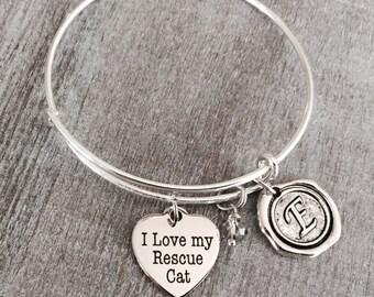 SALE Crazy Cat Lady, Cat Bracelet, Cat Lover Bracelet, Cat Jewelry, Cat Gift, Cat Rescue, Cat adoption, Silver Bracelet, Charm Bracelet