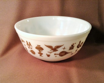 Large White Pyrex Bowl Ovenware with Brown Images - Early American Pictures - Retro Mixing Bowl