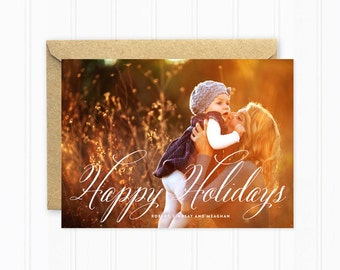 Photo Holiday Card, Modern Script Photo Card, Happy Holidays, Personalized Christmas Cards
