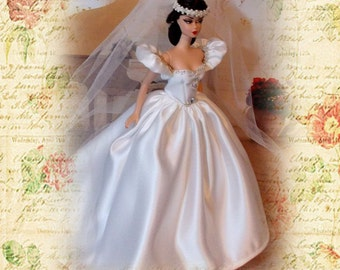 """OOAK """"Winter Dream"""" Wedding Gown & Veil. Beaded Satin Wedding Dress with Beaded Veil. 1:6 Scale Fashion Doll Clothes."""