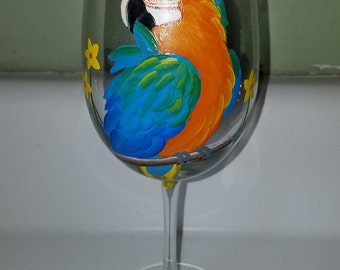 Catalina macaw wine glass hand painted