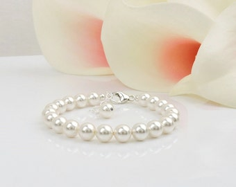 Single Strand Swarovski Pearl Bridal Bracelet Bridal Jewelry Simple Pearl Bracelet Classic Pearl Bridal Bracelet FREE US Shipping
