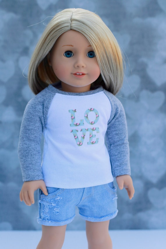 Doll Clothes | Trendy Cloud Grey with Mint Floral Love Graphic Long Sleeve Fitted BASEBALL TEE for 18 Inch Doll such as American Girl Doll
