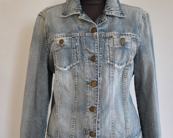Vintage ARMANI JEANS JACKET , women's jeans jacket with advance patina .....(372)