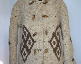 Vintage HANDMADE HAND KNIT pure wool coated hoodie .....
