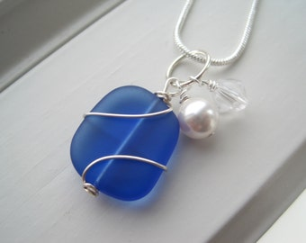 Cobalt Blue Necklace and Earring Set - Sea Glass Jewelry - Wire Wrapped Jewelry - Royal Blue Jewelry - Birthday Gift for Her