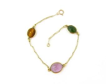 Vintage 14k Gold Scarab Bracelet | Carved Stone Scarab Bracelet | Yellow Gold Scarab Bracelet | Egyptian Revival Carved Beetle Bracelet