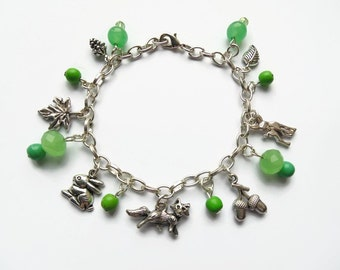 woodland bracelet, woodland jewellry, nature bracelet, charm bracelet, beaded bracelet, nature inspired, nature jewelry, green bracelet