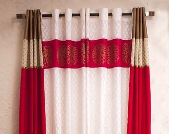 Fuschia Pink silk curtains