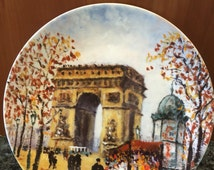 French Limoges Porcelain Plate 'L 'Arc De Triomphe'  Arch of Triumph by Louis Dali 8 1/2""