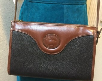Authentic Black and Brown Leather Crossbody Carry / Shoulder Bag by Dooney & Bourke