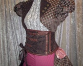 25% OFF - LARGE Eva Quatrefoil Steampunk Cap Sleeve Jacket with Stand-up Collar