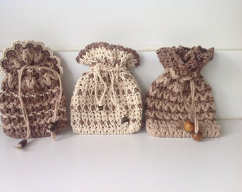 Crochet cotton pouches with drawstring