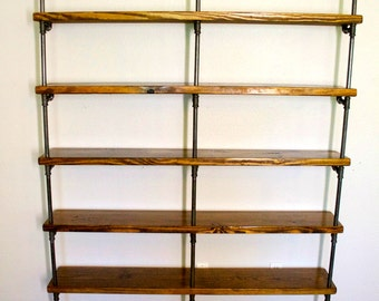 Industrial pipe bookshelves - Pipe Shelving Unit - Bookshelf - Wooden Shelving - Industrial Shelves, Industrial Wall Shelving - Bookcase