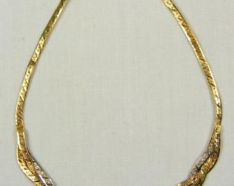 "Nice Braided Serpentine 14K Tri-Gold Chain Bracelet ~ 7"" Long"