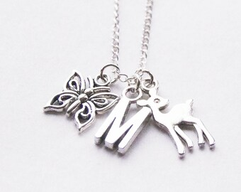 Deer Necklace, Butterfly Necklace, Silver Charms Necklace, Forest Jewelry, Deer Jewelry, Woodland Necklace, Initial Necklace, Charm Necklace