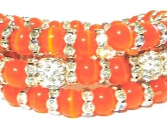 Orange Cat Eye  Rhinestone Bracelet Set