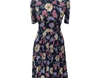 1980s floral rayon vintage tea dress