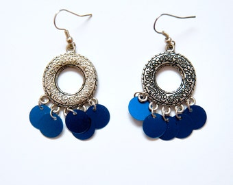Dark Blue/Pink Bubbles Earrings