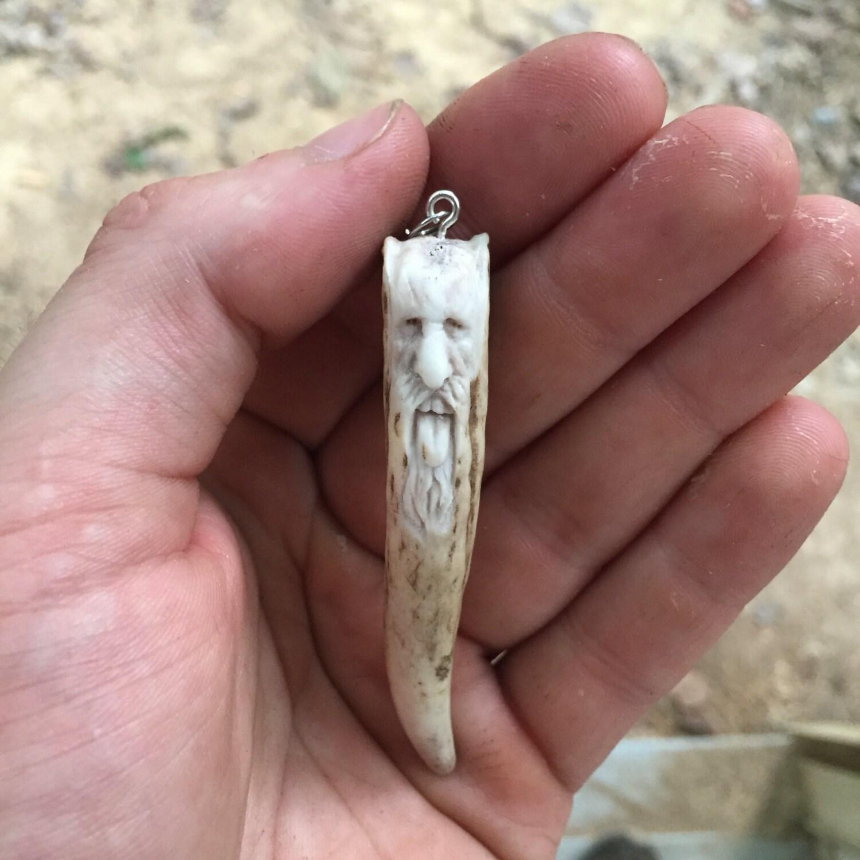 Bone Carving Ornament Keychain Hand Carved Deer Antler
