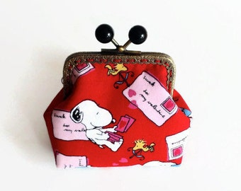 """Peanuts Snoopy Coin Purse / Snoopy and Woodstock Metal Frame Pouch / Snoopy """"Love letters"""" Fabric Purse/ Snoopy Bags"""