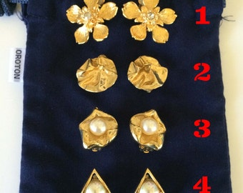 Vintage Earrings -- Three Pairs -- Gold Clip On Earrings -- Costume Jewellery