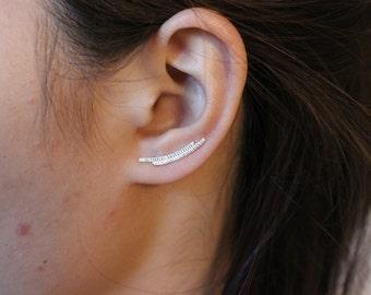 Sterling Silver double line Ear Cuff, line Ear Climber, Ear Jacket crawler, Ear Jackets Sweep, Stud Earrings Pin, Single Stud Earring