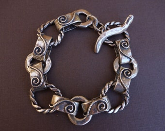 Rustic Spratling Style Sterling Bracelet