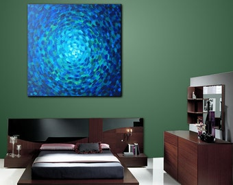 Art, Wall Art Original Painting Acrylic Geometric Contemporary Home Decor Abstract  Modern Blue Green Canvas Title: ASTRAL BLUE