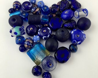 50  glass beads blue shades 6mm to 15mm #PV142-1