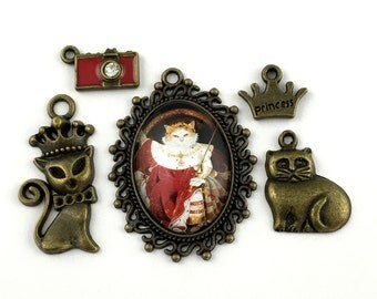 5 cat prince pendant and charms collection ,bronze tone ,10mm to 40mm#ENS B 033