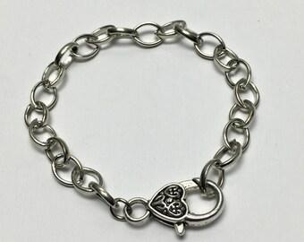 5 bracelet finding silver tone chain  #FIN 056