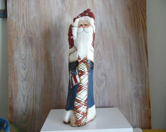 red white and blue santa