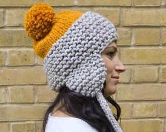 Chunky Pom Pom Hat, Wool Knitted Hat, Chunky Knit Pompom Hat, Knit Pompom Beanie, Chunky Beanie Hat, Women's Pompom Hat, Winter Earflap Hat